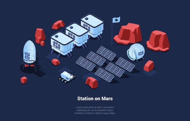 Skład izometryczny stacji kosmicznej na marsie