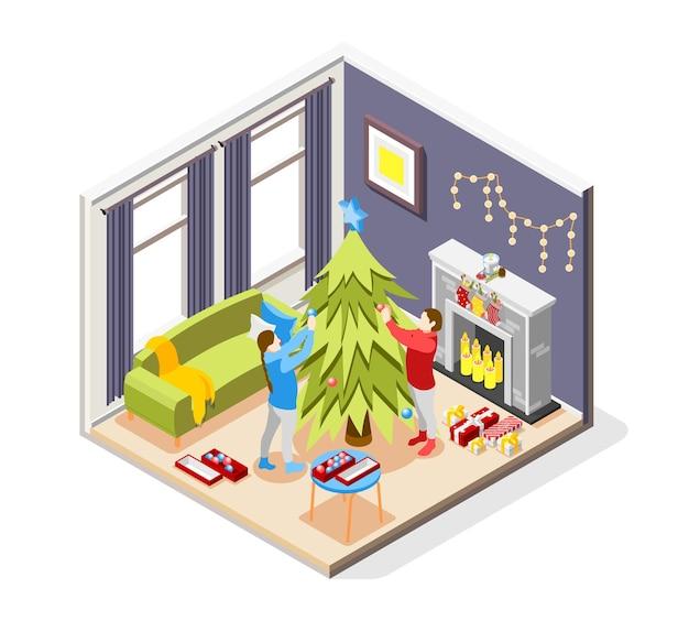 Skład Izometryczny świątecznego Nastroju Premium Wektorów