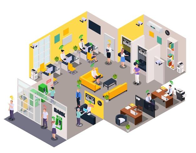 Skład izometryczny systemu oceny kredytowej społecznej z widokiem postaci pracowników biurowych i ilustracji piktogramów poziomu oceny
