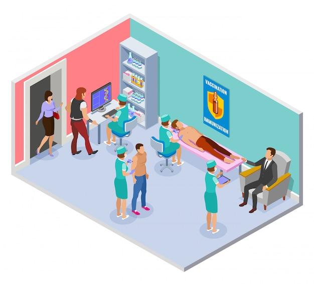 Skład izometryczny szczepionki z widokiem na salę szpitalną z elementami wewnętrznymi i pracownikami medycznymi podającymi zastrzyki