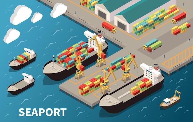 Skład izometryczny terminala morskiego z załadunkiem, rozładunkiem, kontenerowcami, przewoźnikami ładunkowymi, dźwigami, magazynem transportu towarowego