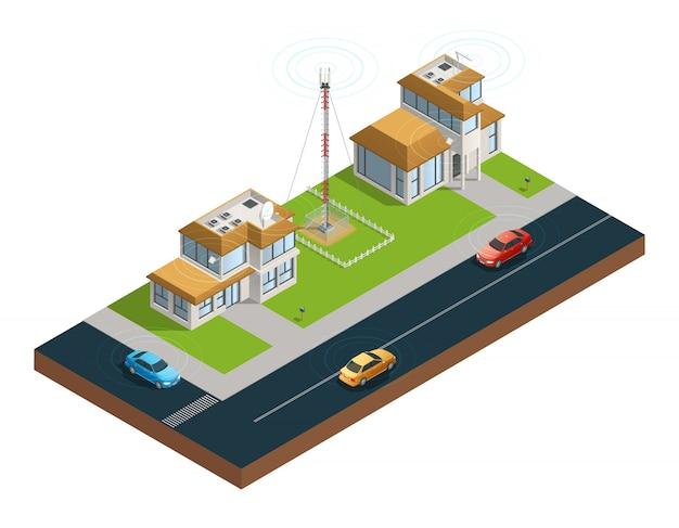 Skład izometryczny ulicy miejskiej z urządzeniami w wieży mieszkalnej i samochodami połączonymi