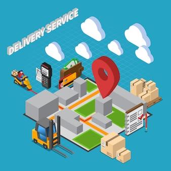 Skład izometryczny usługi dostawy z elementami wnętrza magazynu i ikonami logistycznymi