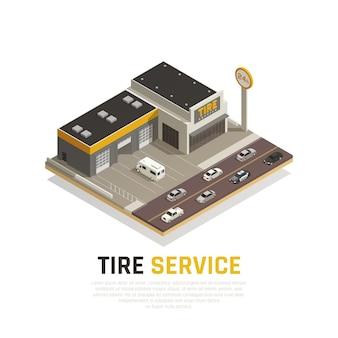 Skład izometryczny usługi produkcji opon z samochodami i budynkiem sklepu z oponami