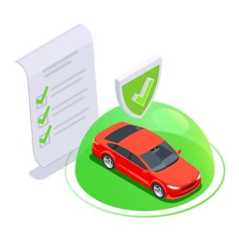 Skład izometryczny użytkowania samochodu z bańką i ikoną chronionego samochodu ze znakiem papierowej umowy