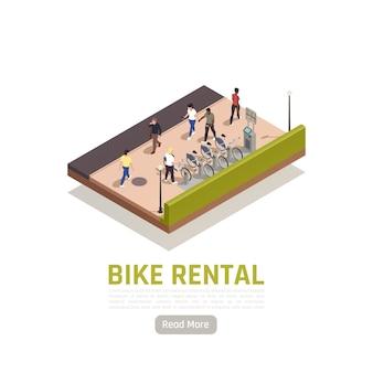 Skład izometryczny wypożyczalni rowerów z kilkoma dostępnymi rowerami do wypożyczenia na stacji i kasą do zapłaty
