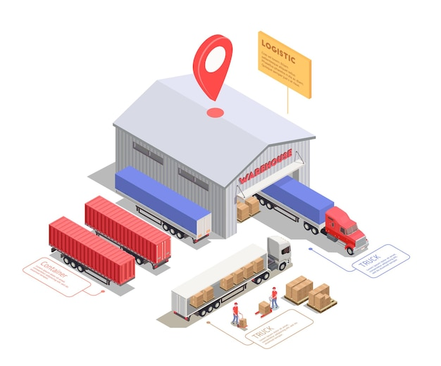 Skład izometryczny z ciężarówkami i kontenerami w pobliżu budynku magazynowego i pracowników ładujących ładunek 3d ilustracji