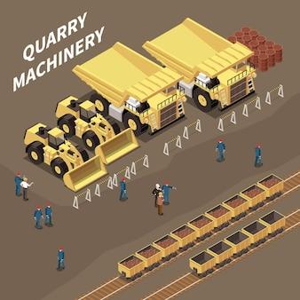 Skład izometryczny z wózkami maszyn do kamieniołomu ze skałami i ilustracją górników