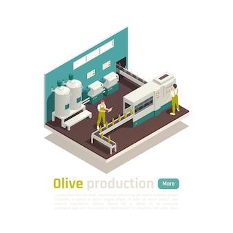 Skład izometryczny zakładu produkcji oliwy z oliwek z automatyczną linią do napełniania butelek z banerem przenośnika taśmowego