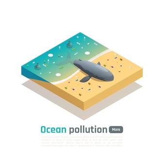 Skład izometryczny zanieczyszczenia oceanu z widokiem martwego wieloryba na zanieczyszczonym wybrzeżu morskim z edytowalnym banerem tekstowym