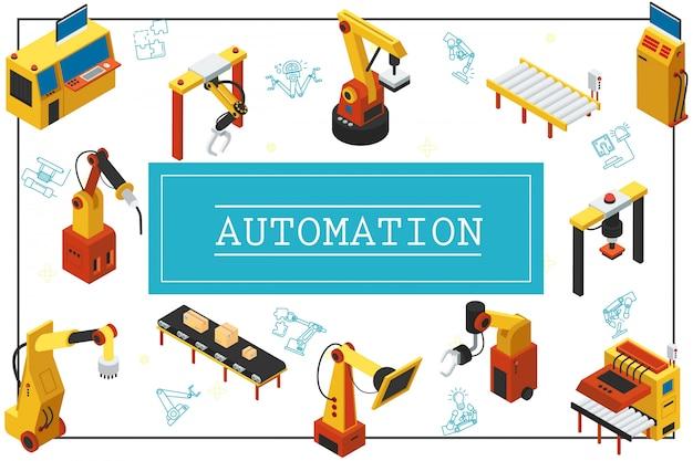 Skład izometryczny zautomatyzowanych maszyn przemysłowych z mechanicznymi ramionami robotów i automatycznymi przenośnikami taśmowymi w ramie
