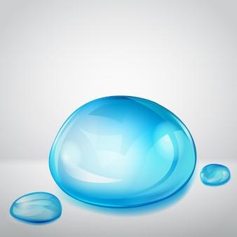 Skład jednej dużej i dwóch małych kropli wody