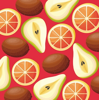 Skład kiwi z gruszkami i pomarańczami