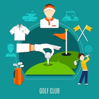 Skład klubu golfowego, w tym ręczne umieszczanie piłki na tee, zawodników, sprzęt sportowy na niebieskim tle