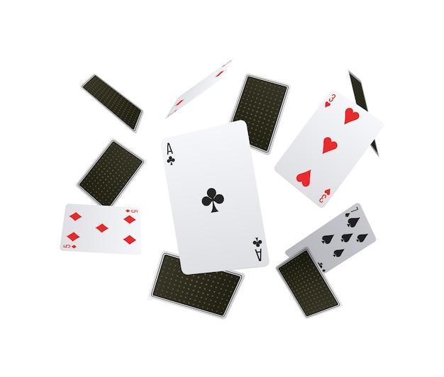 Skład klubu pokerowego z opadającymi kartami do gry z przodu iz tyłu