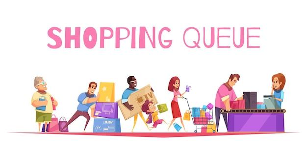 Skład kolejki zakupowej z tekstem i kasami w supermarketach postacie ludzkie klientów z towarami