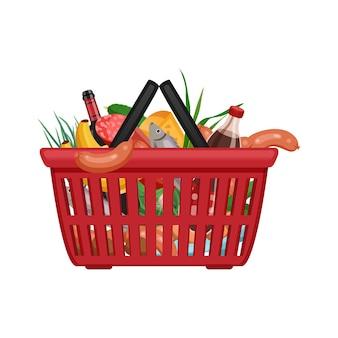 Skład koszyk na zakupy z izolowanym obrazem produktów w koszyku supermarketu