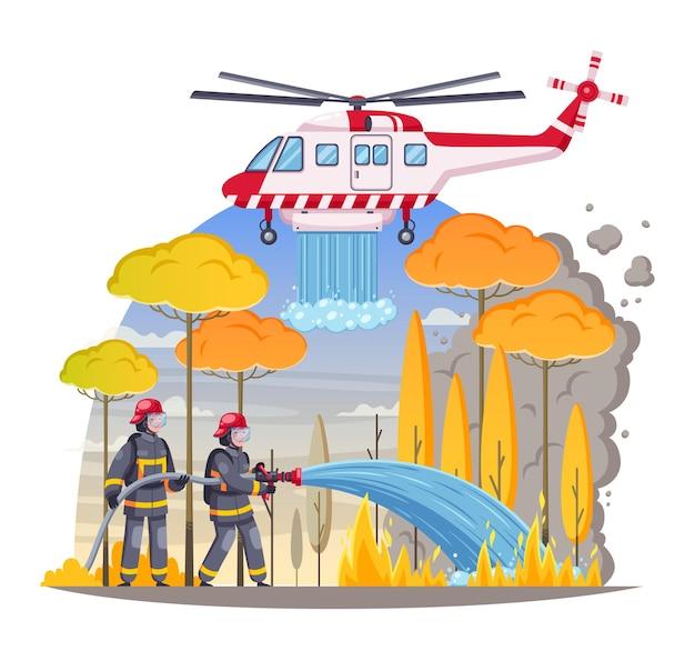 Skład kreskówka strażaków z ilustracją na zewnątrz ognia