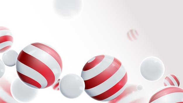Skład kulek 3d. kulki biało-czerwone.