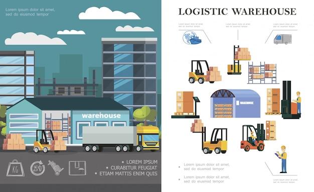 Skład logistyki magazynu płaskiego z pracownikami magazynującymi w procesie załadunku ciężarówek, wózkami widłowymi różnych pudeł i kontenerów