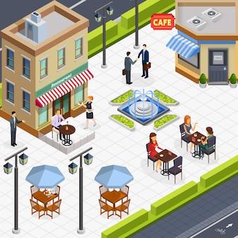 Skład ludzi izometryczny biznes lunch