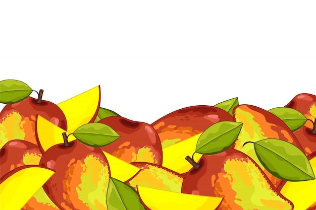 Skład mango na białym tle