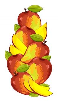 Skład na białym tle mango.