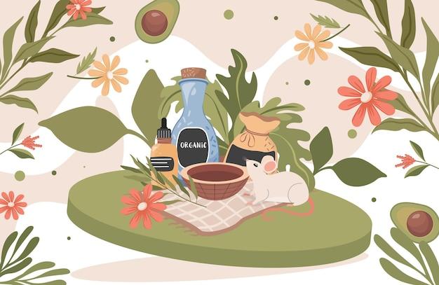 Skład naturalnych kosmetyków organicznych. butelki z kosmetykami i uroczą małą myszką, świeżymi kwiatami, ziołami i awokado. składniki kosmetyczne spa.