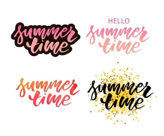 Skład pędzla napis letnie wakacje na białym tle