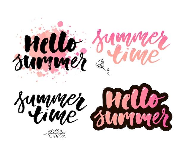 Skład pędzla napis letnie wakacje na białym tle.