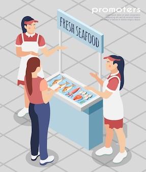 Skład promotorów z pracownikami sklepu stojącymi w pobliżu biurka promocyjnego ze świeżymi owocami morza w celu zaangażowania klientów