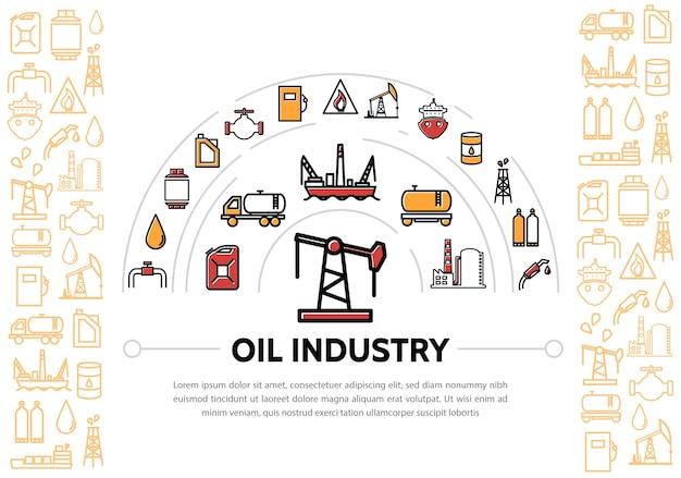 Skład przemysłu naftowego z ikonami