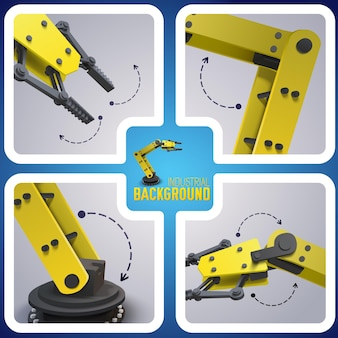 Skład robota w fabryce i zestaw czterech kwadratowych ikon ze wskazówkami, jak działa robot