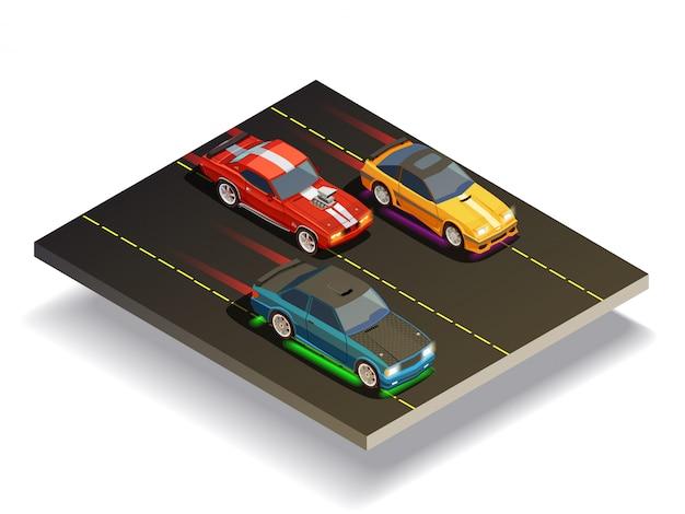 Skład samochodów na torze wyścigowym