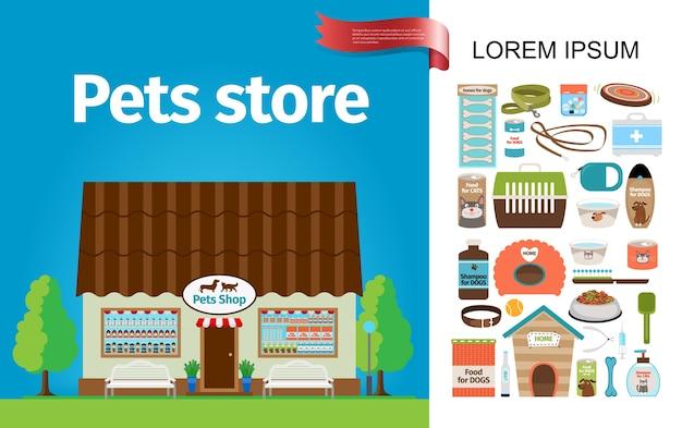 Skład sklepu płaskiego zwierząt domowych
