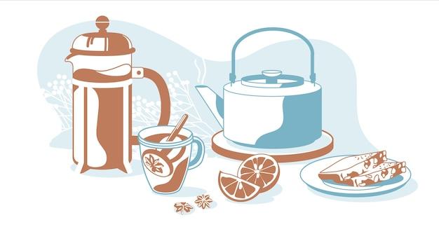 Skład śniadaniowych obiektów herbata, prasa francuska, czajnik, cytryna, chleb, rośliny ozdobne na białym tle