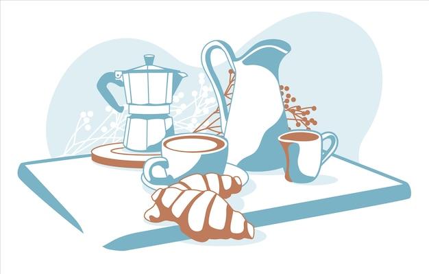 Skład śniadaniowych obiektów kawa, rogaliki, mleko, śmietana na białym tle
