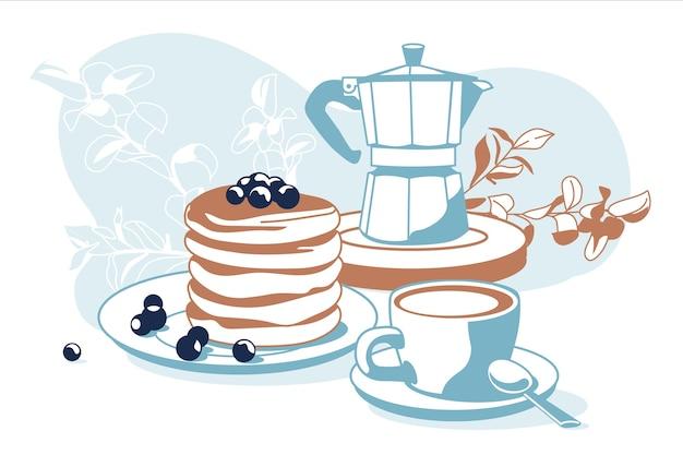 Skład śniadaniowych obiektów kawy, naleśniki, rośliny ozdobne na białym tle