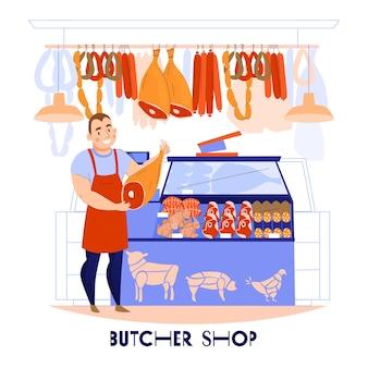 Skład sprzedawcy rzeźnika z widokiem na stragan mięsny z ludzkim charakterem i kawałkami produktów