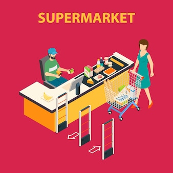 Skład supermarketu w centrum handlowym