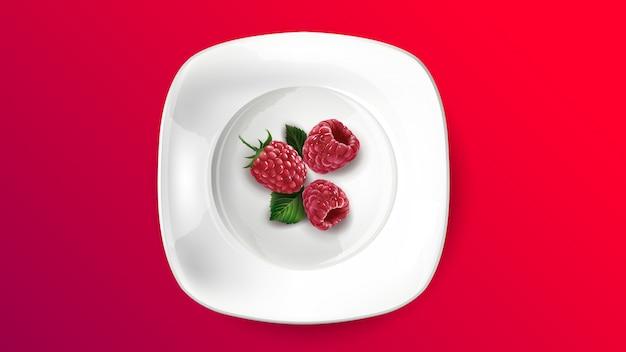 Skład świeże malinki na białym talerzu.