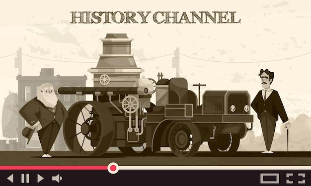 Skład transportu historii z tekstem strumienia wideo online i zabytkowym pejzażem miejskim z historycznymi samochodami i ludźmi