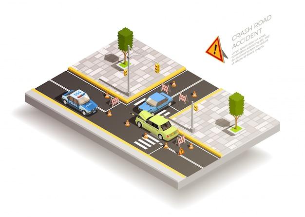 Skład uliczny wypadku samochodowego