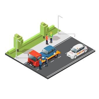 Skład usługi ewakuacji samochodu izometrycznego