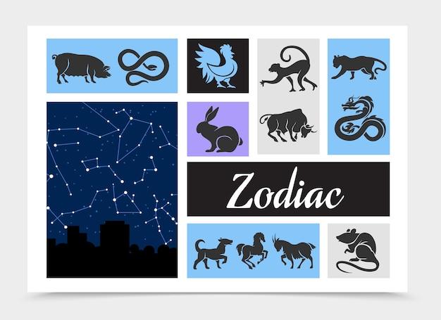 Skład vintage chińskich znaków zodiaku