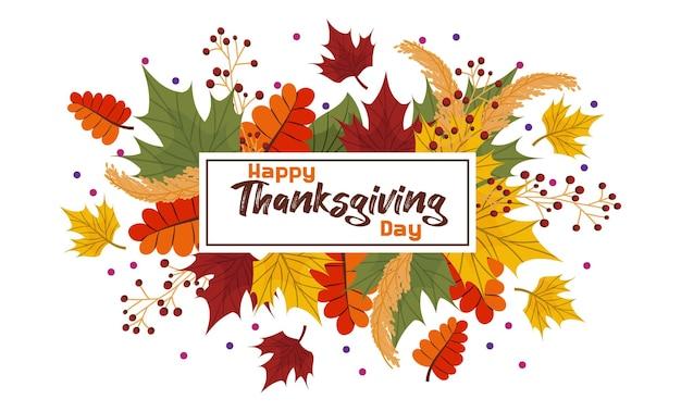 Skład wektor, baner z jesiennych liści, tekst szczęśliwego dziękczynienia. kolorowe liście klonu i jesionu z jarzębiną i kropkami. sezonowy cytat na pocztówki i plakaty.