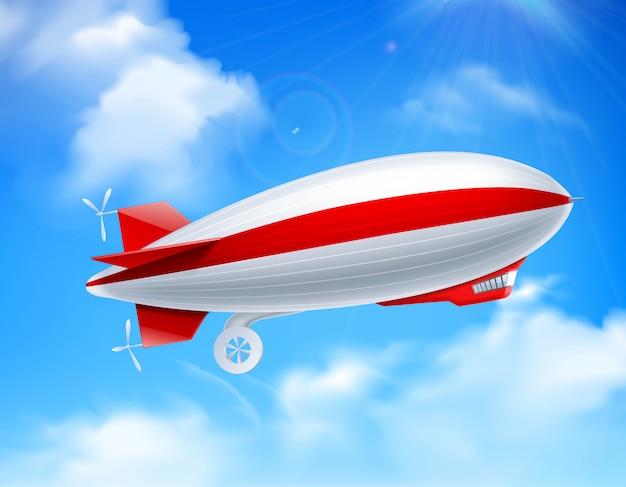 Skład zeppelina na niebie