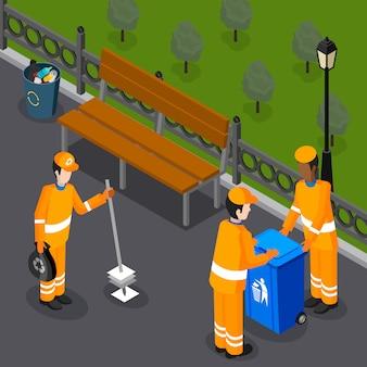 Skład zespołu sprzątającego park
