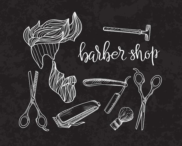 Skład zestawu ikon dla sklepu barber.