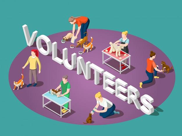 Skład zwierząt izometryczny wolontariuszy